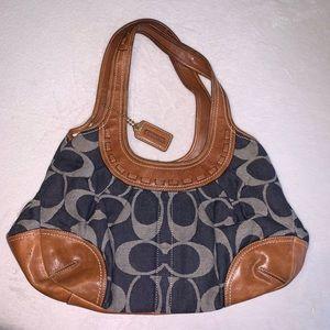 Coach Ergo Denim Kiss Lock Shoulder Handbag 12747